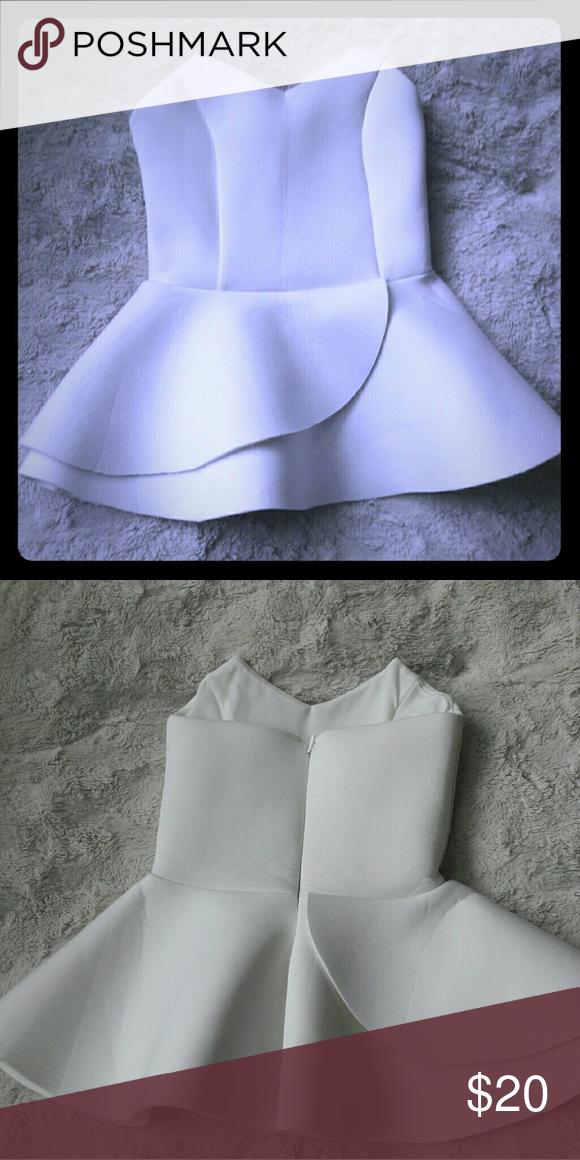3daddfb51c Unique Peplum tube top Scuba material. Off white. ASOS Tops