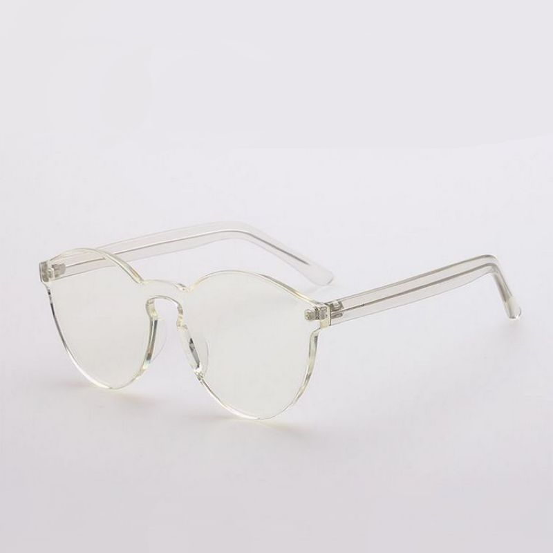 Classic Round Crystal White Sunglasses Transparent Anti-UV Lens ...