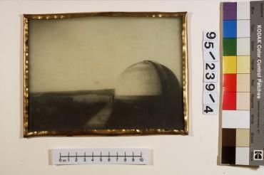 95/239/4 Photographic glass positive, framed, Sydney Observatory, glass / silver gelatin emulsion / brass, photographer unknown, Sydney Australia, 1880-1900 - Powerhouse Museum Collection When Sydney had a dark sky.