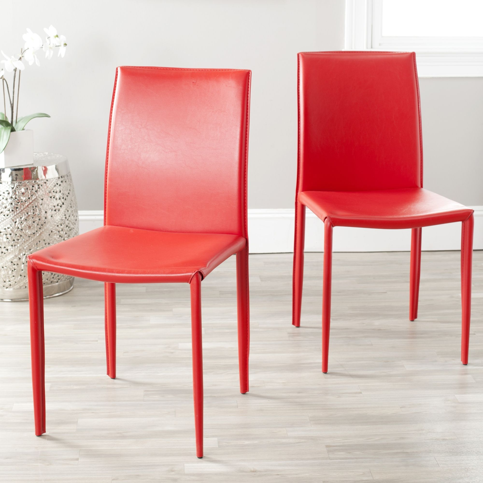 Safavieh Mid Century Dining Jazzy Bonded Leather Red Dining Chairs Set Of 2 Fox2009c Set2 Red Dining Chairs Dining Chairs Fully Upholstered Dining Chair