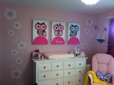 Custom Wall Artwork Our Idea For A Colorful Owl Nursery All Started With The Paper My Husband Is Graphic Designer And We Were Inspired By