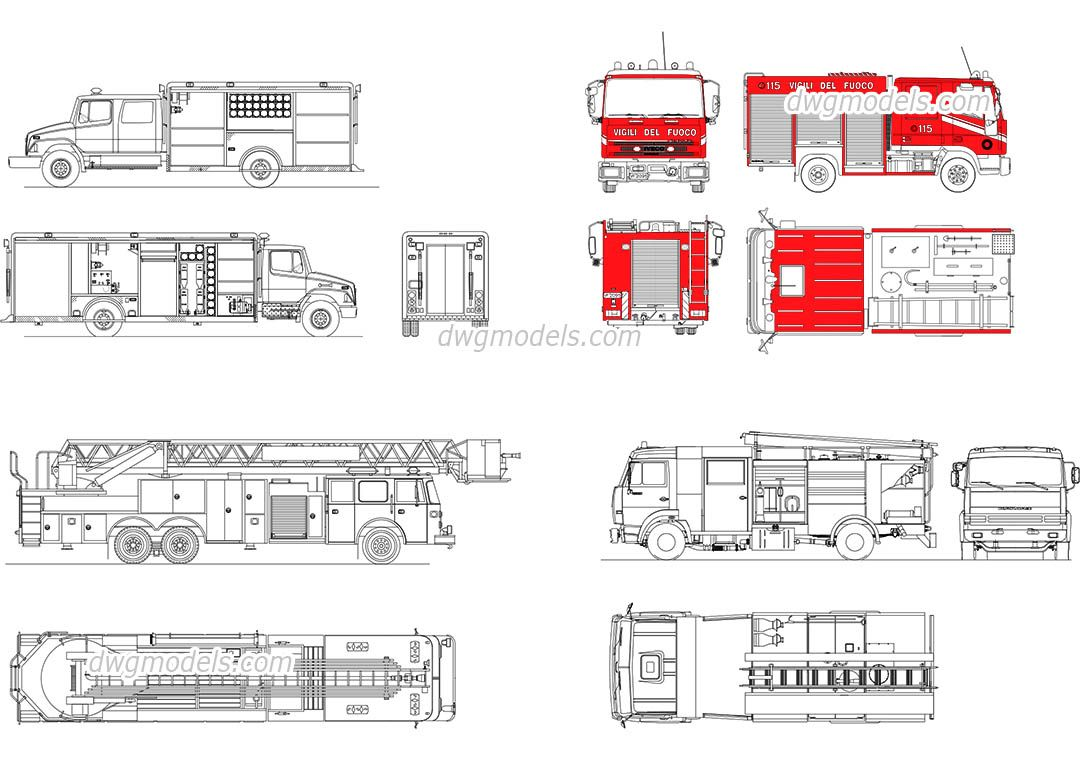 Line Drawing Software Free Download : Fire trucks cad blocks free dwg file