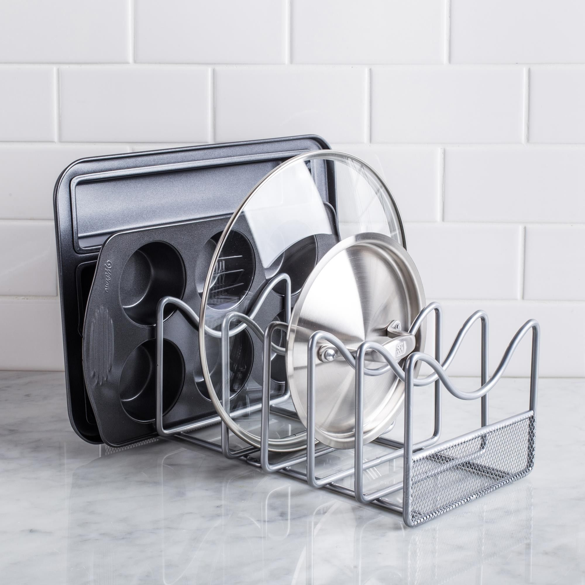 Ksp mesh panlid organizer silver bếp kệ bếp thiết kế