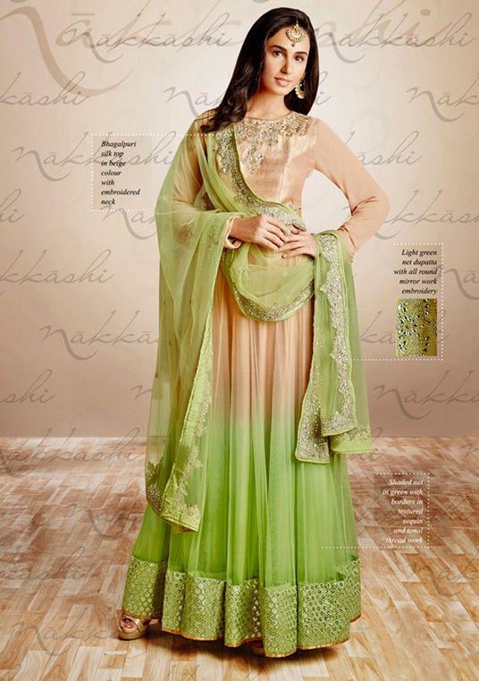 USD 121.41 Beige Silk Ankle Length Anarkali Suit 54400