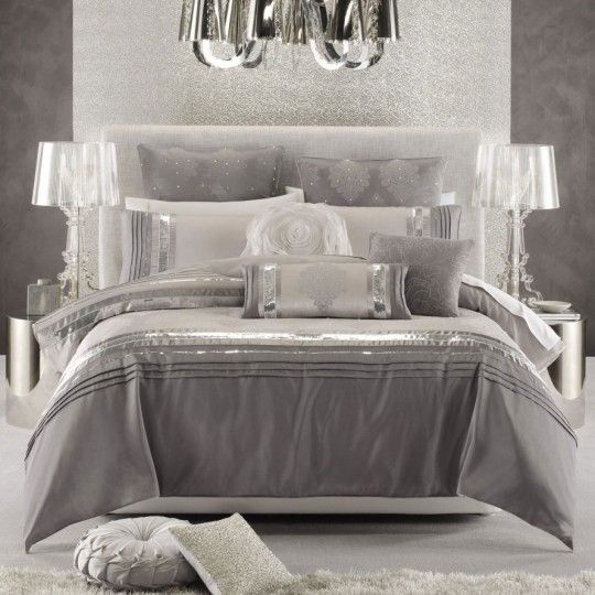Ice hollywood glamour bedding bedroom decor glam - Grey white and silver bedroom ideas ...