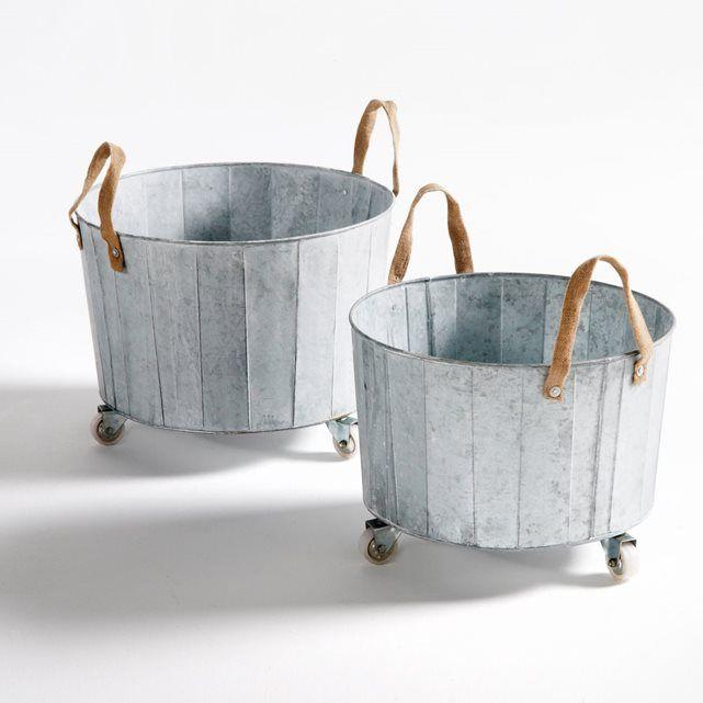 Cache-pot zinc à roulettes (lot de 2) Aissa La Redoute Interieurs