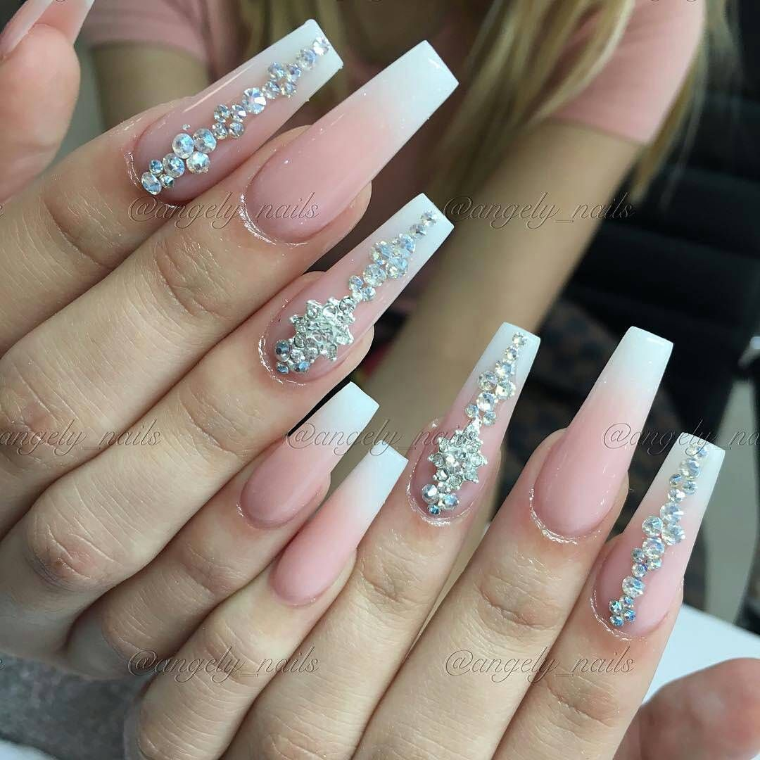 Regrann From Angely Nails Regrann Bling Nails Long Acrylic Nails Coffin Long Square Acrylic Nails