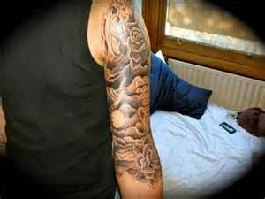 Tattoos By Will Thomson Cloudy 3 4 Sleeve Cloud Tattoo Tattoos For Guys Cloud Tattoo Sleeve