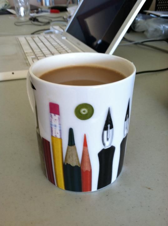 office coffee mug. i love my eames office coffee mug which is illustrated with artistsu0027 implements like