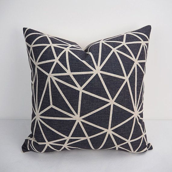 Black Cushion Covers For Throw Pillows Large Sofa Heavy Weight Linen Cotton Geometric Design Pillow Cover Handmade Item Material