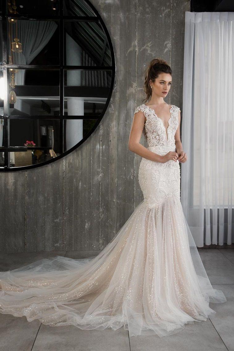 Glamour Bridal Collection by Riki Dalal deep v neckline heavy embellishment mermaid wedding dress #weddingdress #weddinggown