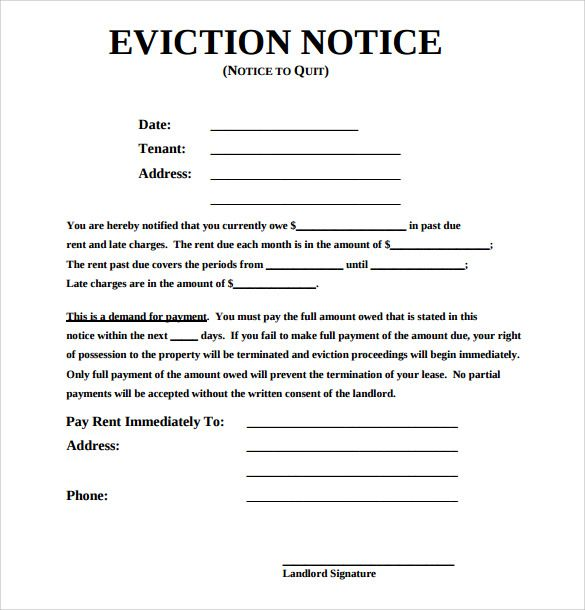 Sample Eviction Notice Template - 37+ Free Documents in PDF, Word