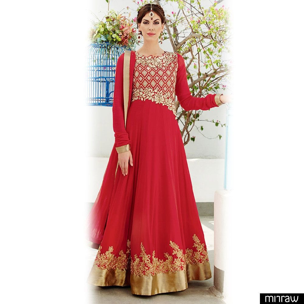 Red floor length anarkali suit anarkali suits anarkali and red floor