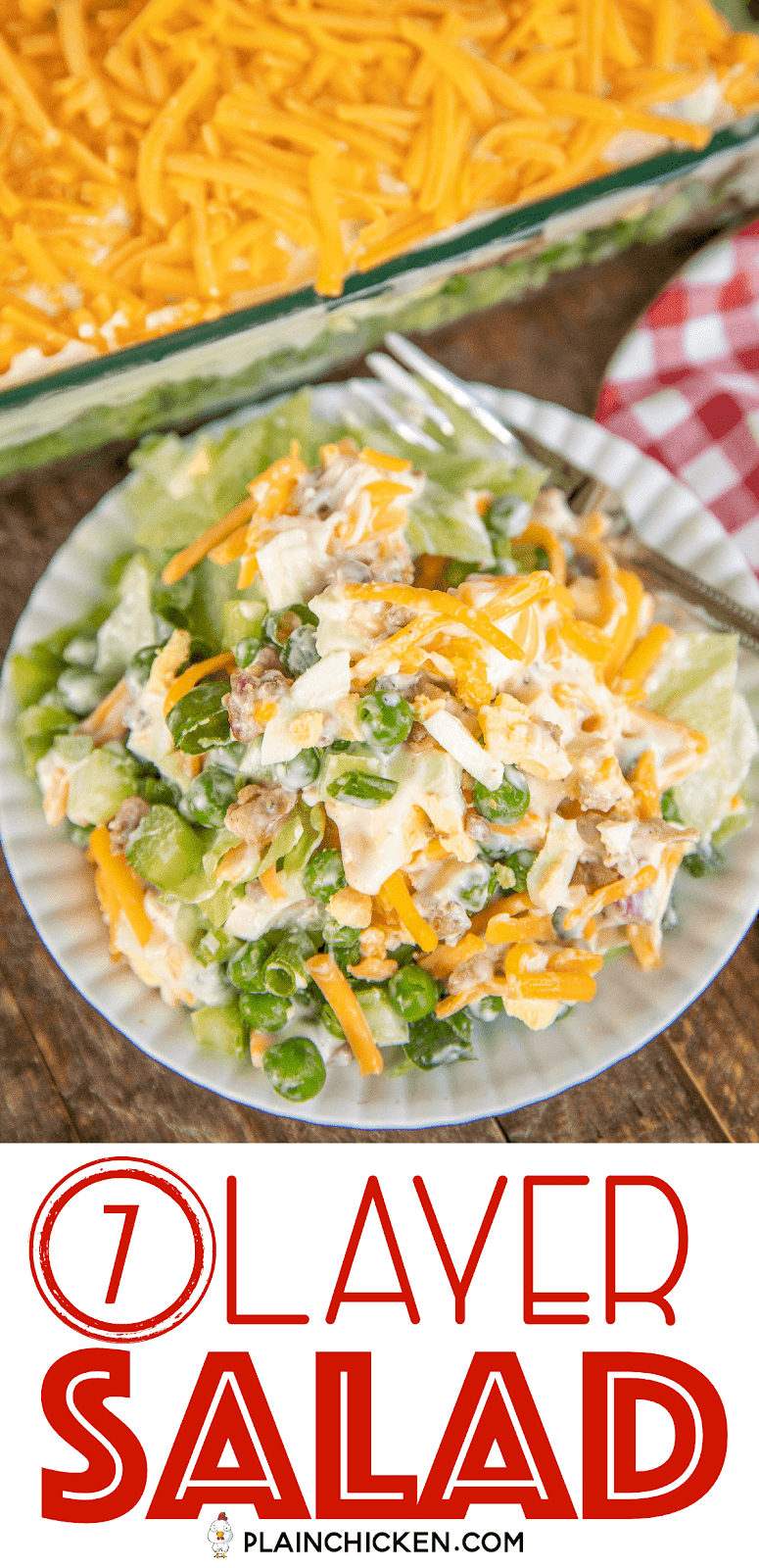 7 Layer Salad Recipe A Classic Recipe Layers Of Lettuce Green Onions Celery Green Peas Hard Boiled Egg Layered Salad Salad Recipes Layered Salad Recipes