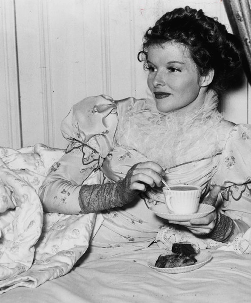 katharine hepburn having her cup of tea tea thymes katharine hepburn tea coffee. Black Bedroom Furniture Sets. Home Design Ideas