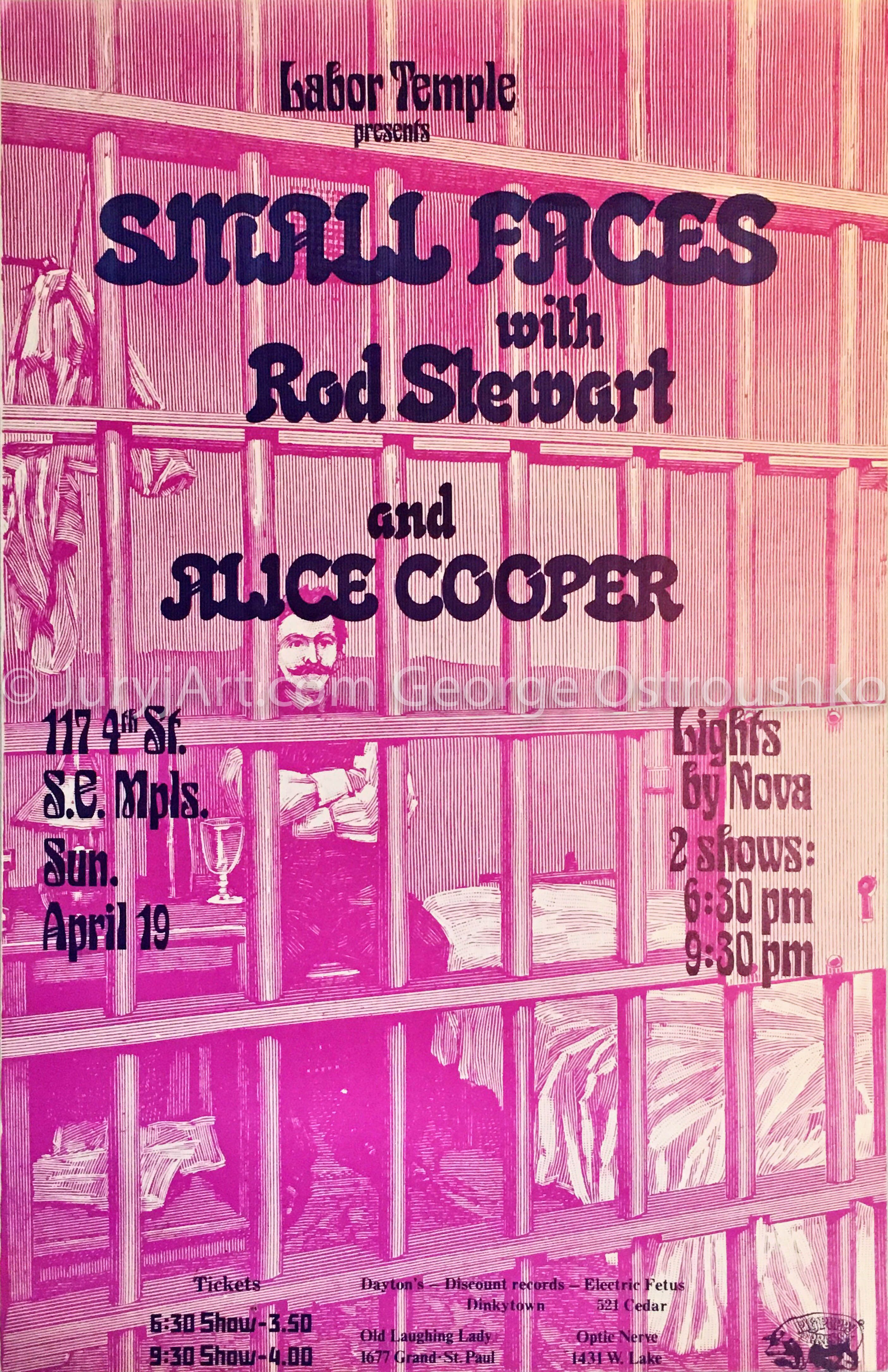 Rare Small Faces W Rod Stewart And Alice Cooper April 19th 1970 Minneapolis Labor Temple Vintage Concert Posters Vintage Music Art Faces Band