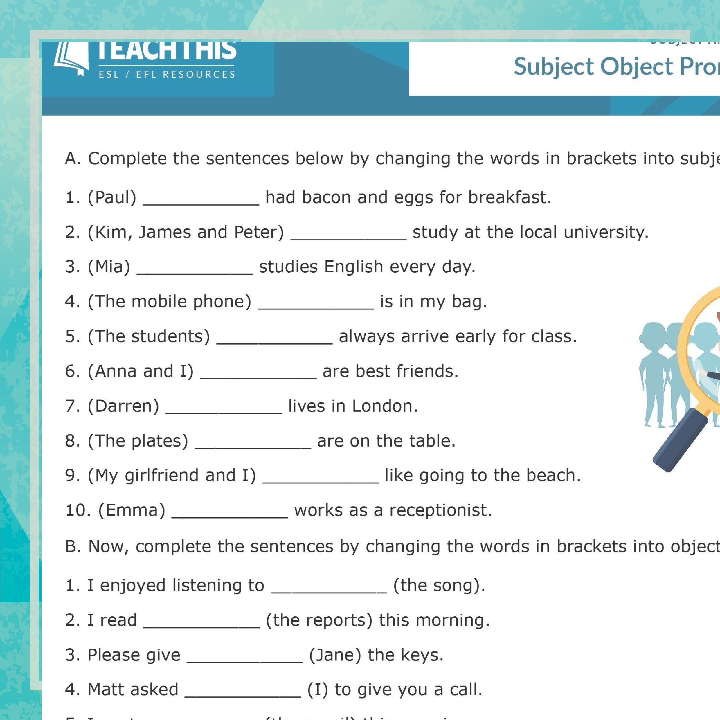 Esl Subject And Object Pronouns Activity