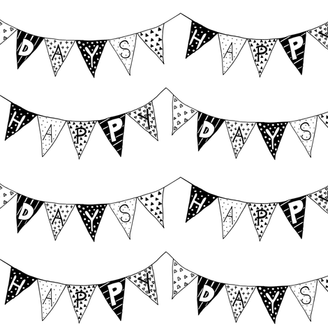 Happy Days Bunting bw fabric by smuk on Spoonflower - custom fabric
