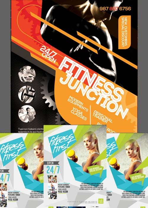 Fitness Flyers Bundle part 3 Psd Pinterest Vector stock - fitness flyer