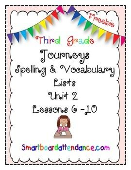 Journeys Grade 3 ,Unit 2, lessons 6 - 10 Spelling/Vocabulary List