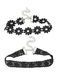 HOTTOPIC.COM - LOVEsick Crochet Flower Choker 2 Pack