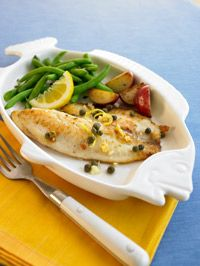 Tilapia with Lemon, Garlic, and Capers -- 145 calories a serving