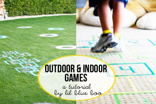Easy games using spraypaint and tape....indoor and outdoor options. #diy #games #tutorial