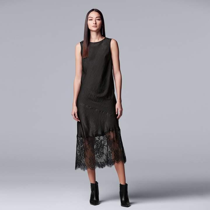 Womens Simply Vera Vera Wang Lace Hem Satin Slip Dress