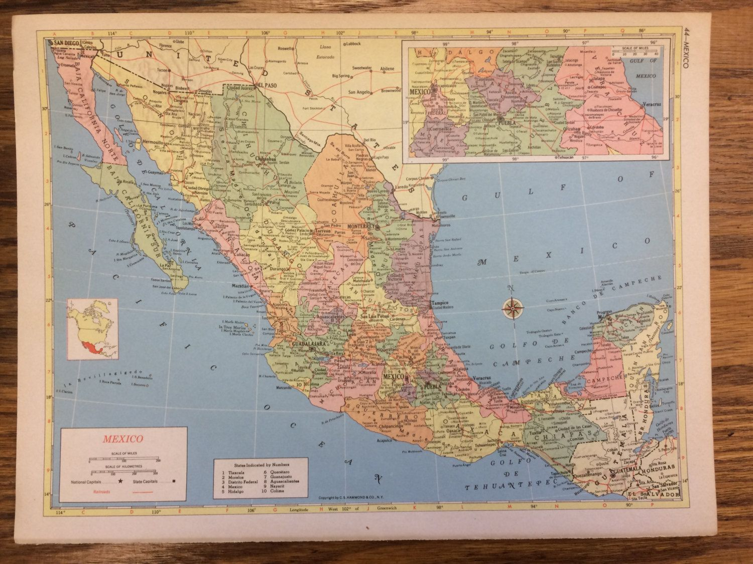 Mexico large map 1955 hammonds new supreme world atlas vintage 1955 mexico large map hammonds new supreme world atlas vintage by passinthrutime on etsy gumiabroncs Choice Image