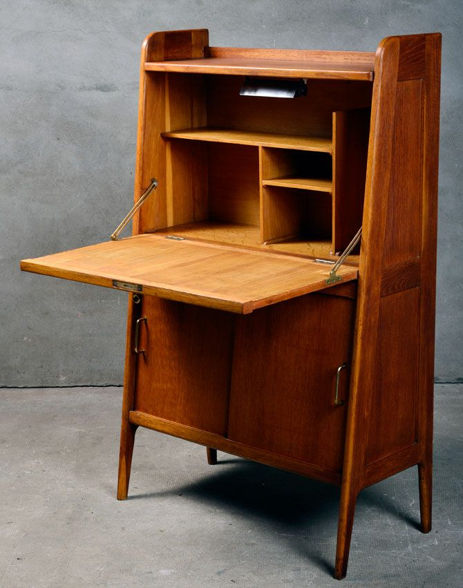 secretaire meuble vintage bois chene pinteres. Black Bedroom Furniture Sets. Home Design Ideas