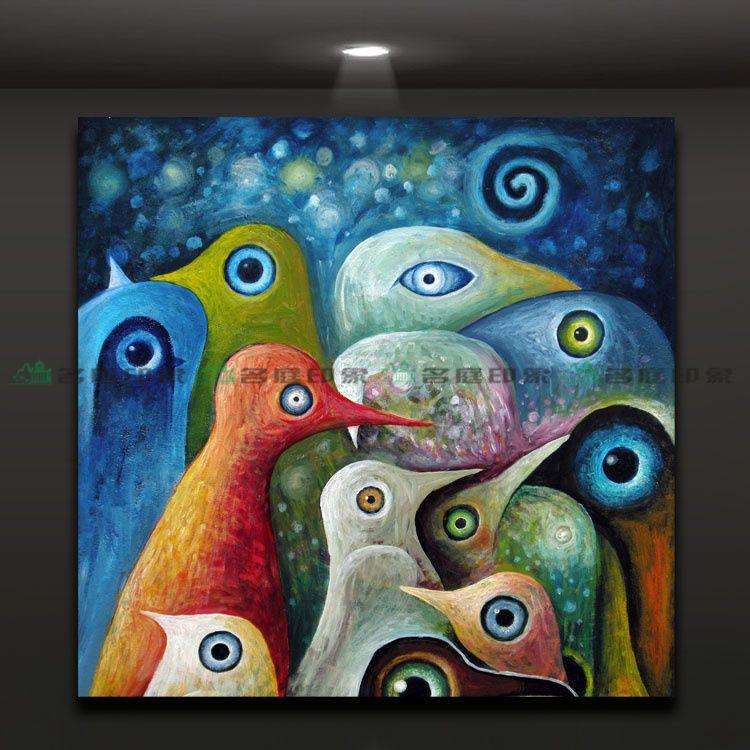 Pájaros pintura abstracta multicolor pintura al óleo decorativa , pintura de núcleo único , sin marco en Pintura y Caligrafía de Casa y Jardín en AliExpress.com | Alibaba Group