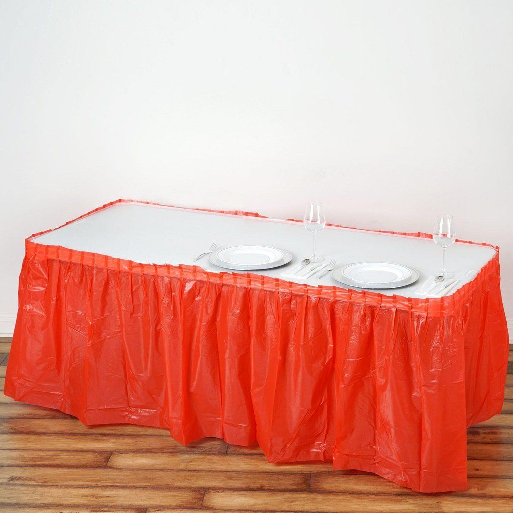 14ft Red 10 Mil Thick Pleated Plastic Table Skirts Disposable Table Skirt Spill Proof In 2020 Table Skirt Plastic Tables How To Look Classy