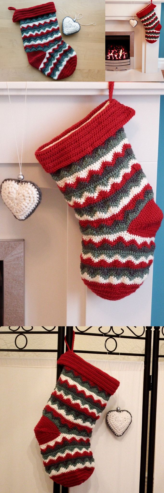 Home made zigzag Christmas Stocking - free crochet pattern ...
