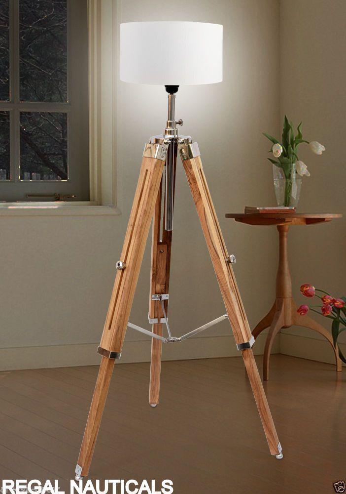 Teak Wood Vintage Floor Lamp Wooden Tripod Stand Marine