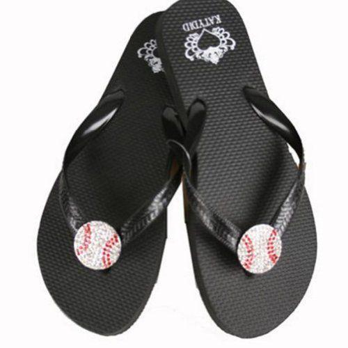 Amazon Com Katydid Baseball Bling Flip Flops Shoes Baseball Flip Flops Rubber Flip Flops Baseball Sandals