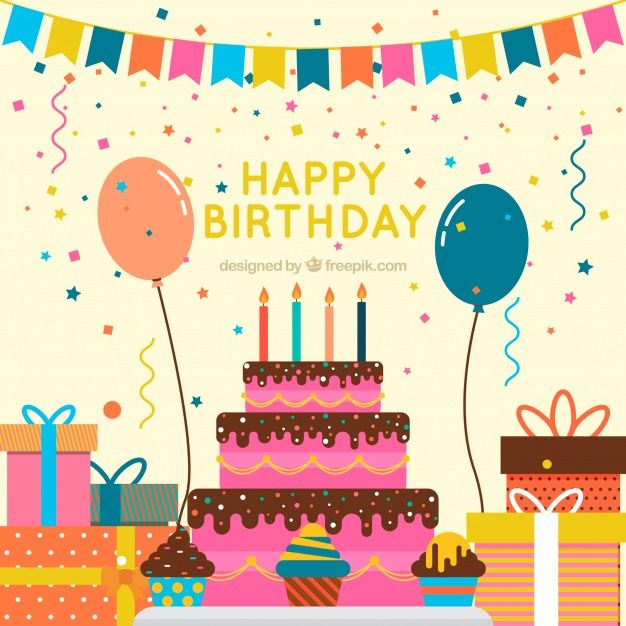 Vintage cake background and birthday decoration Free Vector
