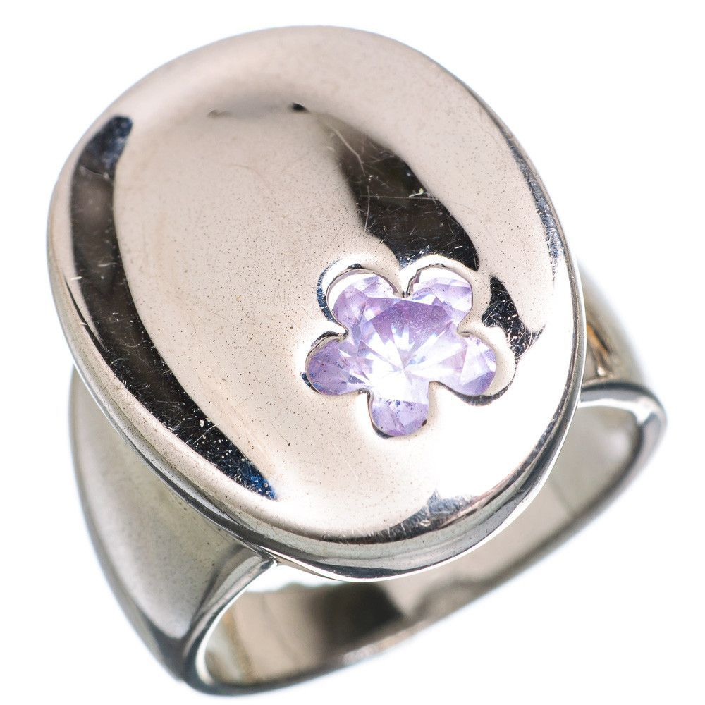 Large Faceted Amethyst Flower 925 Sterling Silver Ring Size 7 RING776871