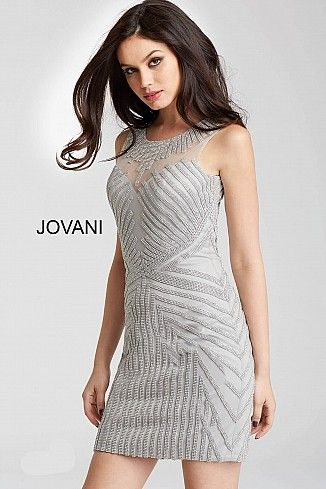 cb7bbbd157 Silver Embellished Sleeveless High Sheer Neck Short Dress 55857 ...