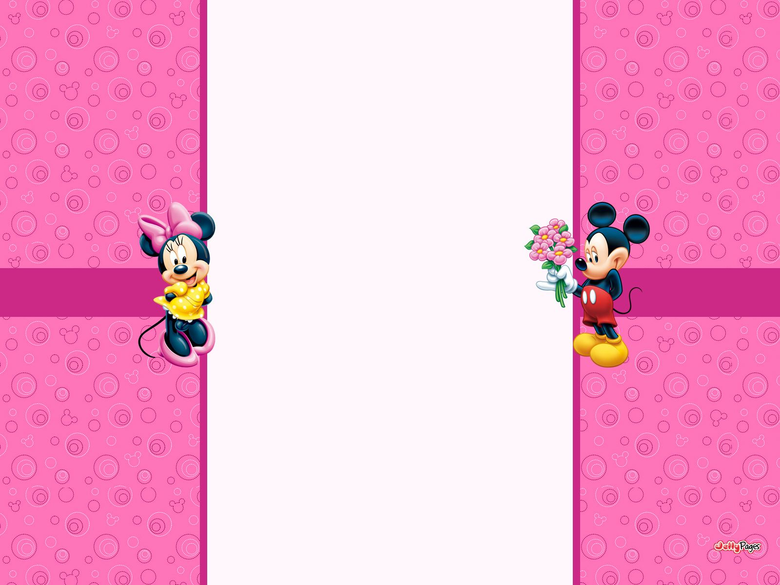 Romantic Mickey Mouse and Minnie Mouse Pink and White