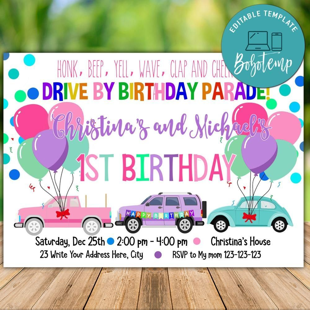 parade 1st birthday invitation diy