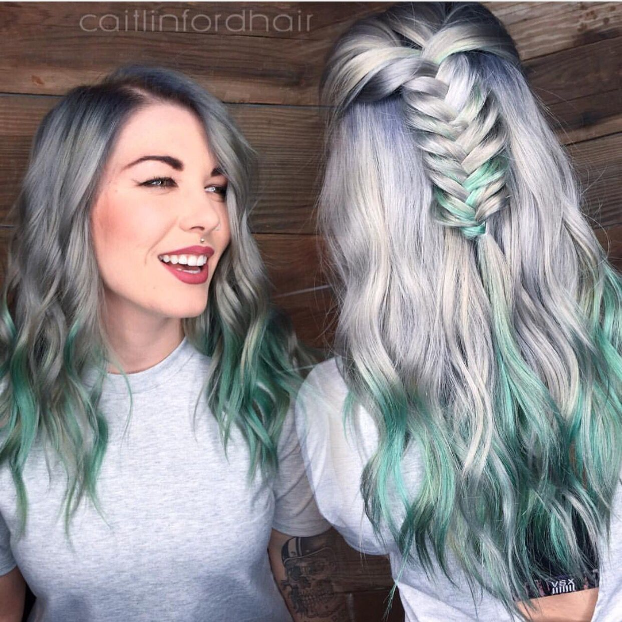 Silver Spearmint by @caitlinfordhair Beautiful artistry Caitlin! Hotonbeauty.com silver hair color green hair color