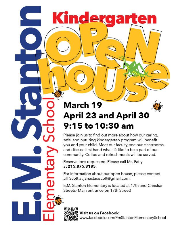 EM Stanton Kindergarten Open House SOSNA South of South - benefit flyer template