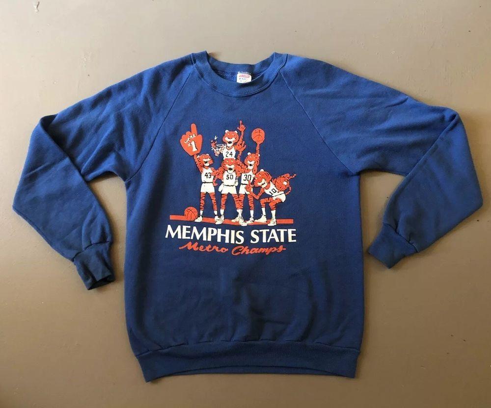 95389908ea996 Vtg 1980s MEMPHIS STATE UNIVERSITY Basketball Sweatshirt MSU Tigers Metro  Champs   eBay