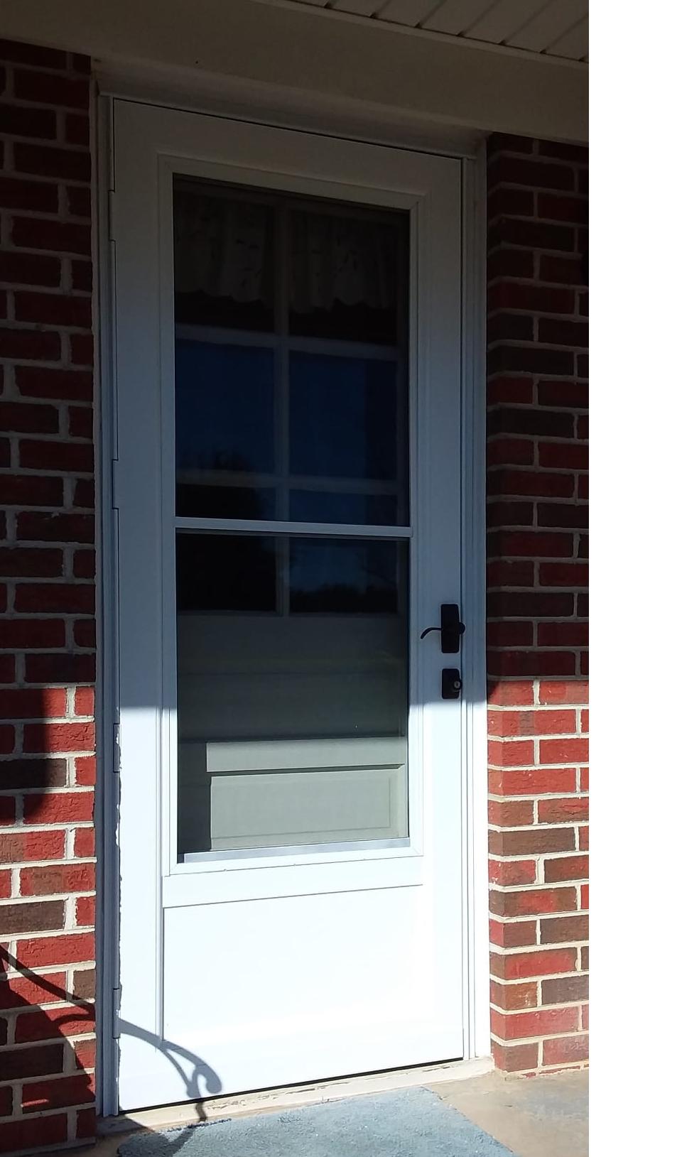 32x80 Provia Model 399 Rear Entry Storm Door With Self Storing Screen Glass Installed By The Richmond Store Teamappledoor Storm Door Doors Security Door