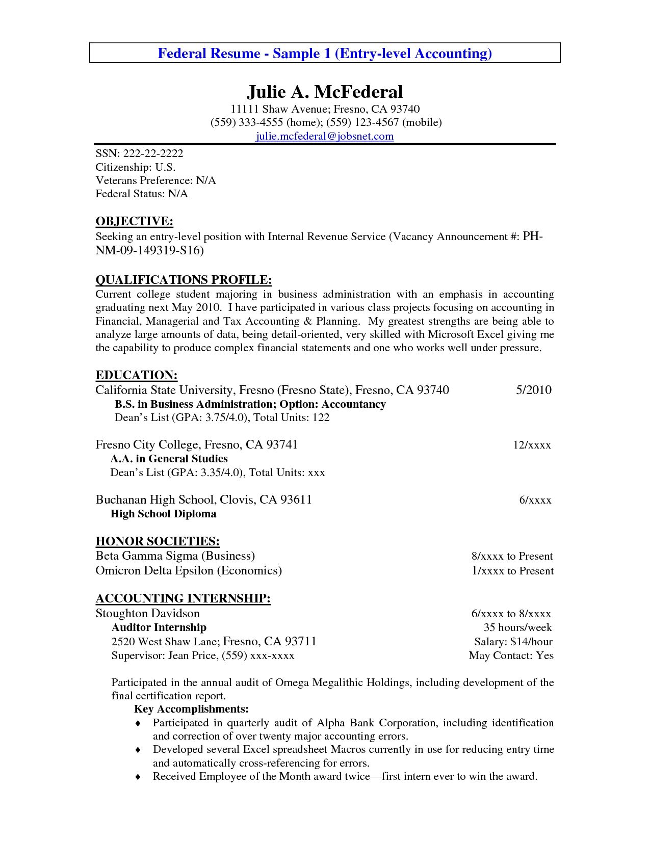 Accounting Internship Resume Sample Entry Level Resume Example Entry Level Accounting Resume Sample
