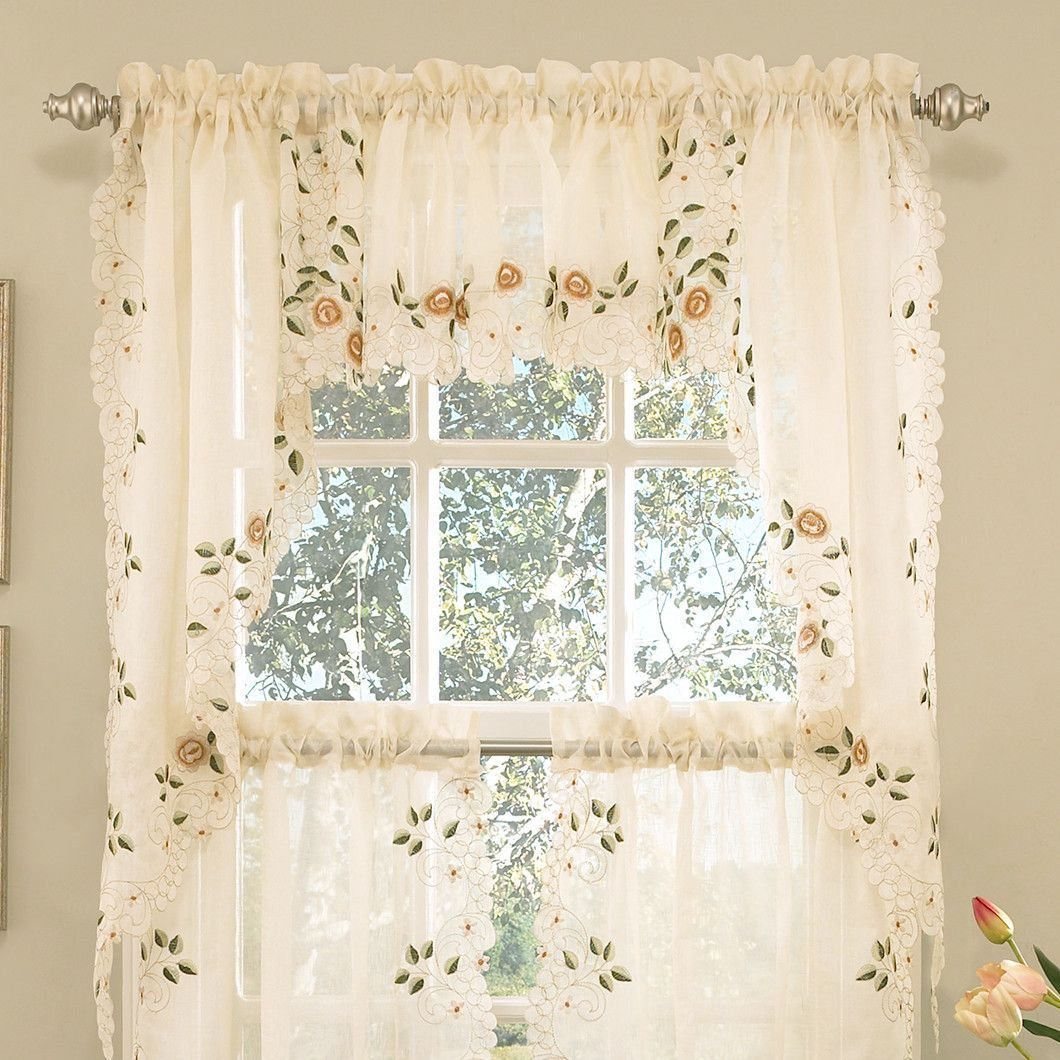 Sweet Home Collection Old World Style Floral Embroidered Semi