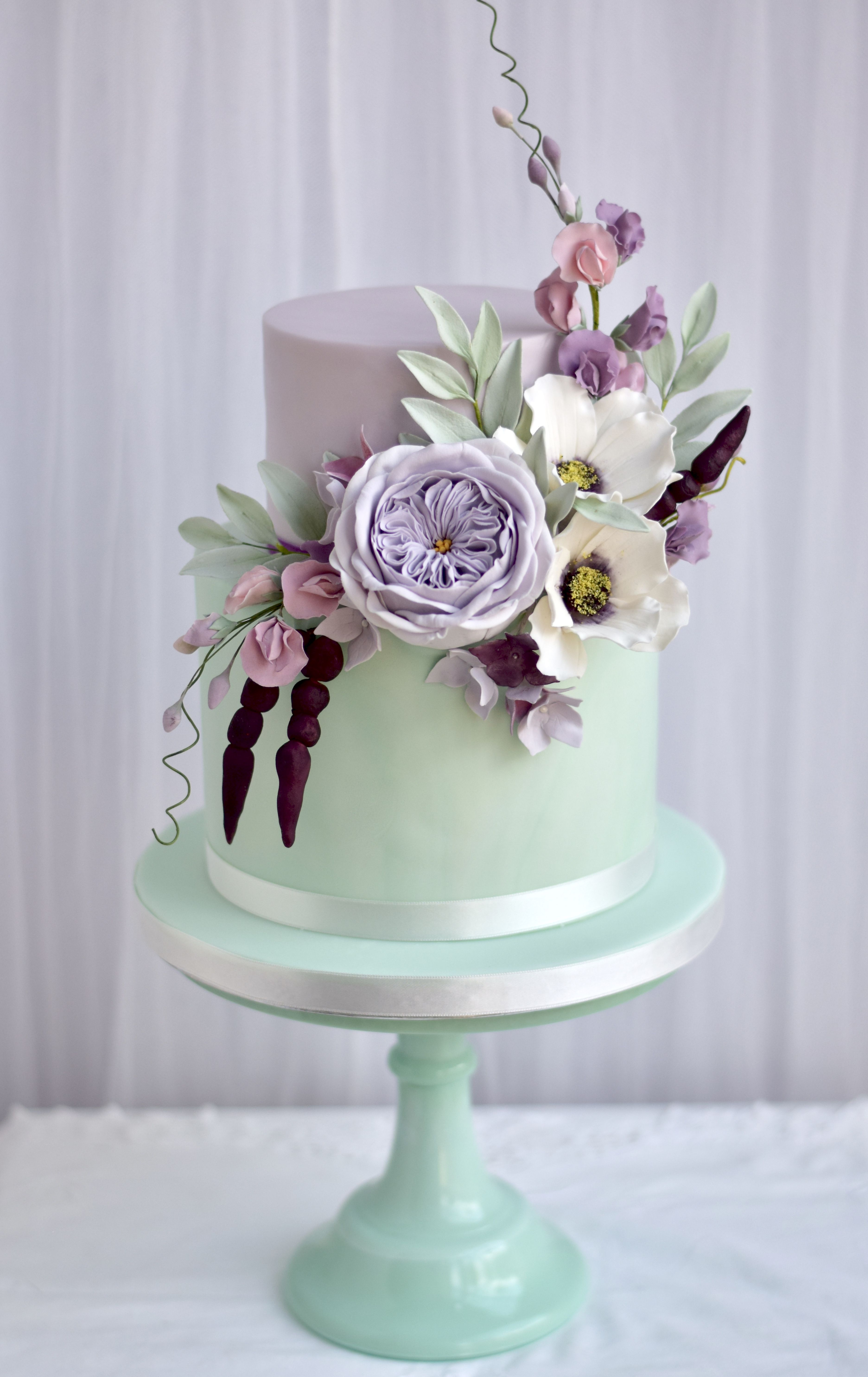 Floral 2 Tier Mint Green And Lilac Wedding Cake Sugarflowers
