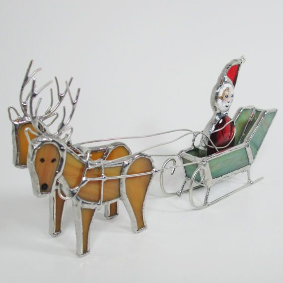 Santa's Sleigh and Reindeer 3D Stained Glass by FiveSparrows,