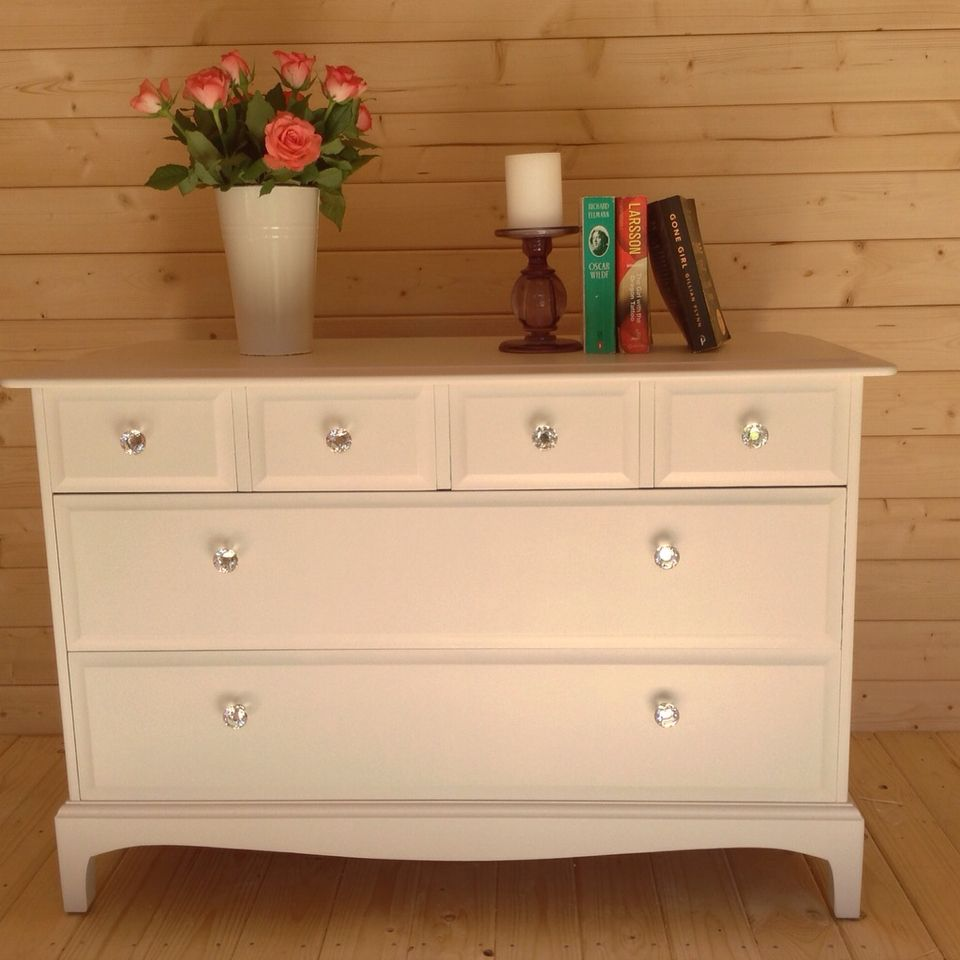 Fabulous Stag Minstrel Chest Of Drawers Given A Contemporary Twist Hand Painted In Laura Ashley