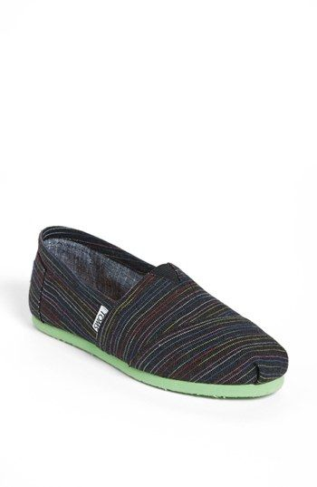 TOMS 'Classic - Stripe Lime Pop' Slip-On (Women) available at #Nordstrom